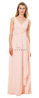 Bill Levkoff 1502.  Chiffon V-front and back gown with a surplice top. Criss-cross bands accent the waist with a self front tie. Soft gathers adorn the sides and back of the A-line skirt. Available in all Bill Levkoff Chiffon Colors.