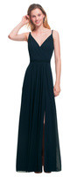 LVK 7021.  Chiffon gown V front and back. Surplice bodice with twisted shoulder straps. Ruched band at the empire. Soft gathers adorn the front and back of the skirt. Available in all Bill Levkoff Chiffon Colors.