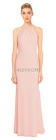 LVK 7032.  Chiffon halter gown with a drape Chiffon overlay accenting the back. Available in all Bill Levkoff Chiffon Colors.
