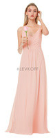 LVK 7034.  Chiffon spaghetti strap gown with V-front and back. Diagonal gathers adorn the bodice. A-line skirt accented with front and back gathers. Available in all Bill Levkoff Chiffon Colors.