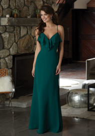 Mori Lee 21581.  Chiffon Bridesmaid Dress Featuring a Ruffled V-Neckline and Beaded Spaghetti Straps that Cross at the Back. View the Chiffon Swatch Card for Color Options. Shown in Emerald.
