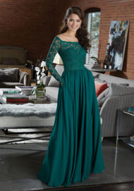 Mori Lee 21582.  Elegant Long Sleeve Bridesmaid Dress Featuring an Off-the-Shoulder Lace Bodice, and Flowy Chiffon Skirt with Pockets. View the Lace Swatch Card for Color Options. Shown in Emerald.