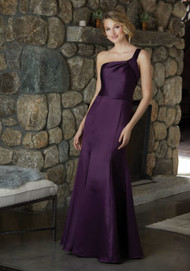 Mori Lee 21587.  Sophisticated One Shoulder Satin Bridesmaid Dress with a Delicately Ruched Neckline. View the Satin Swatch Card for Color Options. Shown in Eggplant.