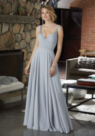 Mori Lee 21588.  Chiffon Bridesmaid Dress Featuring a Figure Flattering A-Line Silhouette and Asymmetrically Draped Bodice. Beaded Shoulder Straps and a Delicately Beaded Waistline Complete the Look. View the Chiffon Swatch Card for Color Options. Shown in Silver.