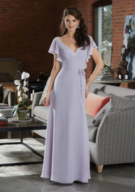 Mori Lee 21591.  Boho Chiffon Bridesmaid Dress Featuring a Deep V-Neckline and Delicate Flutter Sleeves. An Open Back and Thin Tie Sash at the Waist Complete the Look. View the Chiffon Swatch Card for Color Options. Shown in Wisteria.