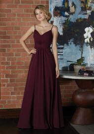 Mori Lee 21592.  Classic V-Neck Chiffon Bridesmaid Dress with Draped Twist Front Bodice. View the Chiffon Swatch Card for Color Options. Shown in Bordeaux.