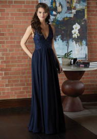 Mori Lee 21593.  Sophisticated Chiffon Bridesmaid Dress with a Plunging V-Neckline Accented in Beaded Embroidery. View the Chiffon Swatch Card for Color Options. Shown in Navy.