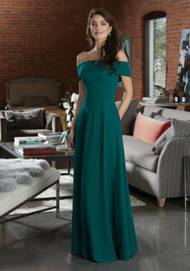 Mori Lee 21596.  Timeless Chiffon Bridesmaid Dress Featuring a Classic Off-the-Shoulder Neckline. View the Chiffon Swatch Card for Color Options. Shown in Emerald.