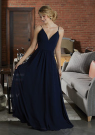 Mori Lee 21597.  Simply Chic, This Chiffon Bridesmaid Dress Features a Deep V-Neckline and Full A-Line Skirt. View the Chiffon Swatch Card for Color Options. Shown in Navy.