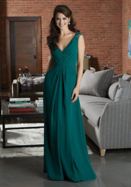 Mori Lee 21598.  Stylish Chiffon Bridesmaid Dress Featuring a Pleated V-Neckline Bodice Accented with Lace Cap Sleeves. An Open Keyhole Back Completes the Look View the Lace Swatch Card for Color Options. Shown in Emerald.