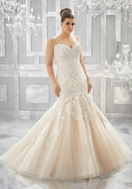 Mori Lee 3221.  Crystal Beaded, Embroidered Appliqus Adorn the Figure Flattering Silhouette on This Tulle Mermaid Bridal Gown. A Layer of Sparkle Net Adds the Perfect Touch of Glam. Colors Available: White, Ivory, Ivory/Caramel.