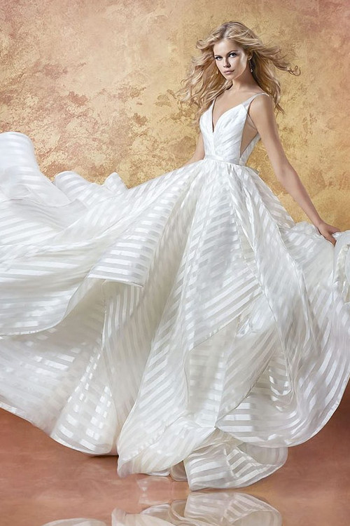 Hayley Paige 6661 Decklyn.  Ivory striped organza bridal ball gown, draped ballerina bodice with curved V-neckline, open back with cut-out detail, full cascading skirt.