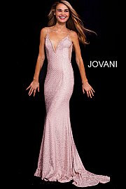 Jovani 57897.  Embellished Plunging Neck Fitted Jersey Prom Dress. Available in: Blush, Black or Red.