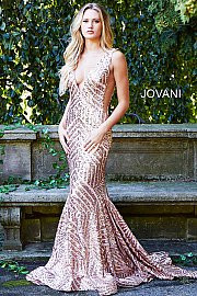 Jovani 59762.   Mesh embellished with sequins, fully lined, form fitting, sweeping train with horsehair trim, sleeveless bodice, v neck, v back, open sides with sheer mesh panels. Available in: black/nude, hunter, rose/gold.