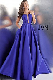 JVN 62743.  Off the Shoulder Prom Ballgown with Pockets. Available in: black, fuchsia, ivory, red, royal.