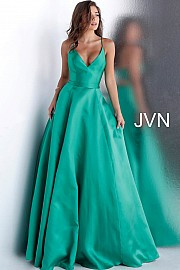 JVN 66673.  Spaghetti Straps A Line Prom Dress.  Available in: emerald or black.