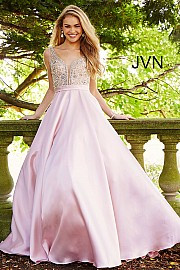 JVN 60696B.  Embellished Bodice A-Line Prom Gown. Available in: black, blush, red, royal, deep purple.