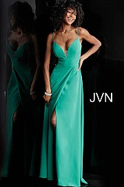 JVN 68176.  Flowy long prom dress with plunging sheer mesh insert neckline, v-back and sleeveless fitted bodice, floor length skirt with front wrap-over leg slit. Available in: green.