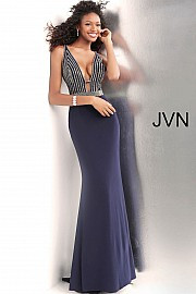 JVN 64153.  Beaded long jersey prom dress with beaded sleeveless bodice, v-neckline and v-shaped back, embellished waist and floor length fitted skirt with gently flared end. Available in: navy.
