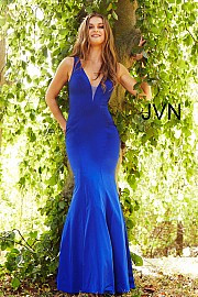 JVN 58011.  Fitted Open Back Prom Dress. Available in black, ivory, light-blue, red, royal.