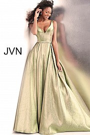 JVN 67647.  Green gold iridescent metallic prom ballgown with v-neckline, sleeveless fitted bodice and v-shaped back, floor length flared and pleated a-line skirt. Available in: Green-Gold only.