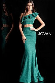 Jovani 66271.  Two Piece One Shoulder Prom Dress. Available in: burgundy, hunter, ivory, navy.
