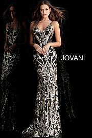 Jovani 63350.  Black Gold Plunging Neck Fitted Embellished Prom Dress. Available in black/gold only.