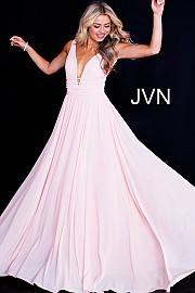 JVN 52179A.  Stretch mesh fabric, flowy long skirt, sweeping train, sleeveless pleated bodice, four straps around the bodice with hook and eye closure on the back, plunging neckline, open back. Available in: Blush, Navy, Red, Royal.