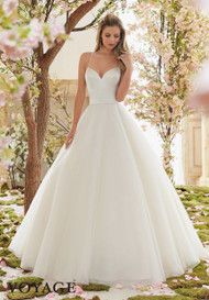 Mori Lee 6831.  Duchess satin and tulle ballgown.  Available in White, Ivory, and Light Gold.