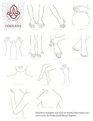 Henna Design Templates - for hands, arm, foot, leg, belly, necklace, back, chest
