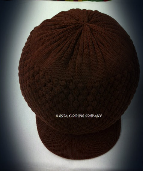 bc90d33edc5 Knitted Large Peak Hat - Brown - Rasta Clothing Company
