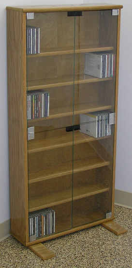 Dvd Cd Bookcase With Glass Doors 27 Quot 72 Quot High Oak Maple