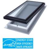 Venting Manual Self Flashing Triple Glazed LoE3 Clear Glass Skylight - 2 Feet x 4 Feet - Black Frame