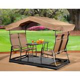 BRETAGNE Dark Brown 4-Seater Garden Swing