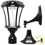 Victorian Solar-Charged LED Lantern Plus Motion Sensor; Black Finish