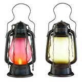 15 In  LED Illuminated Graveyard Lantern with Halloween Sound Effects Hanging Gauze & Try-Me Feature