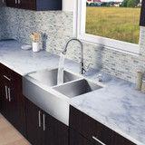 Stainless Steel All in One Farmhouse Double Bowl Kitchen Sink and Faucet Set 33 Inch