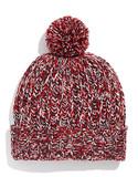 Black Brown 1826 Chunky Knit Tweed Pom Pom Hat - Red