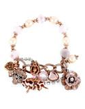 Betsey Johnson Pinktina Metal Plastic Bracelet - Multi-Coloured