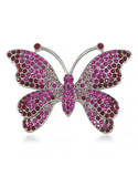 Carolee Beauty of Nature Pin Silver Tone Crystal  Brooch - Pink