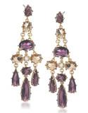 Carolee Simply Amethyst Stone Chandelier Pierced Earrings Gold Tone Crystal Chandelier Earring - Purple