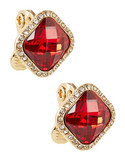Anne Klein Faux Gems Pave Clip On Earrings - Red