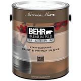 BEHR PREMIUM PLUS ULTRA Interior Matte Enamel Paint & Primer in One - Ultra Pure White;  3.79 L
