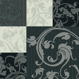 20.5 In. W Black and Grey Stylized Squares Overprinted with Classic Acanthus Leaves Wallpaper