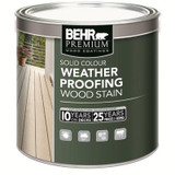 BEHR PREMIUM Solid Colour Deck; Fence & Siding Weatherproofing Wood Stain;  Deep Base; 215 mL