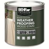 BEHR PREMIUM SOLID Colour Weatherproofing Wood Stain; White No. 5011; 237 mL