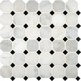 Greecian White Octagon 2 in. x 2 in. Polished Marble Mesh-mounted Mosaic Floor & Wall Tile