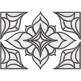 10.5 Inches x 7.7 Inches Alden Clear Stain Glass Applique with 6 Feet of Caming Lines