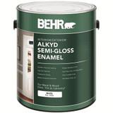 BEHR Interior/Exterior Alkyd Semi-Gloss Enamel Paint - White Base; 3.79 L