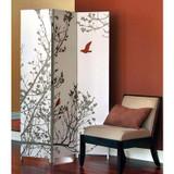 Bota Triple Canvas Screen; Tree With Red Bird. 48 Inch X71 Inch X1 Inch